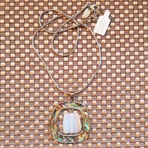 Lia Sophia abalone, clear stone & silver bracelet